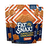 Fat Snax Almond Flour Crackers - Low-Carb and Gluten-Free Keto Crackers with 7g of Healthy Fats - 1-2 Net Carb Keto Snacks - Cheddar, 3-Pack)