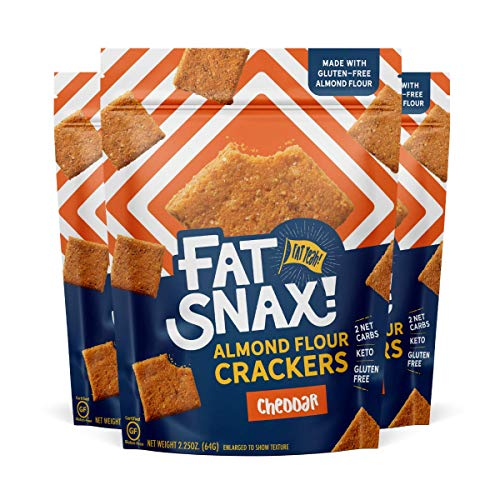 Fat Snax Almond Flour Crackers - Low-Carb and Gluten-Free Keto Crackers with 11g of Fats - 2-3 Net Carb* Keto Snacks - (Cheddar, 8-Pack)