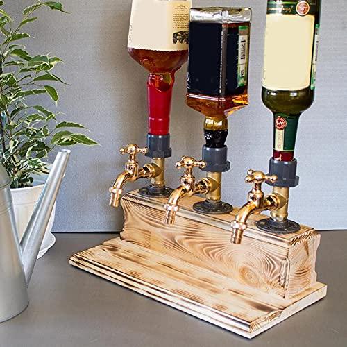Dispensador de madera para bebidas alcohólicas y whisky, dispensador de licor de botella profesional con forma de grifo para fiestas, bebidas, dispensador de vino, dispensador de vino (triple)