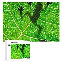Biology Animal Frog Leaf Green 300ピースジグソーパズル木製パズル 子供 グッズ 初心者向け ギフト 人気 減圧知育玩具大人 耐久性 高級印刷 無毒 無臭 無害 難易度調整可能 プレゼント