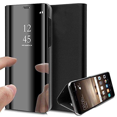 Surakey Kompatibel mit Samsung Galaxy A21S Hülle Spiegel Handyhülle Flip Schutzhülle,Überzug Clear View PU Leder Tasche Brieftasche Handytasche Flip Case Wallet Tasche Etui Lederhülle,Schwarz