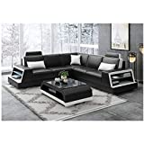 Winpavo Sofabezug, Sofa, Ecksofa, Leder, braun, modernes Sofa, mit USB-Ladefunktion für Musik-Player, Bluetooth Minimalistisch C