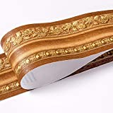 Borde del papel pintado Europeo amarillo Adhesivo del Papel Pintado del PVC Cenefa autoadhesiva para decoración de pared de cocina10x500cm