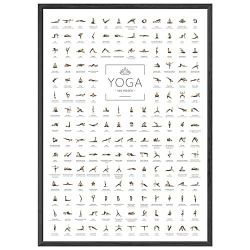JUNOMI Poster Yoga DIN A2 con 168 Pose e Asanas, accessori per yoga per studi e esercizi a casa, perfetta idea regalo per yoga, esercizi di yoga per principianti e professionisti, senza cornice