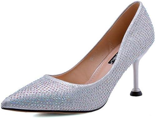 KTYXDE Talons Hauts Talon Femmes Chaussures habillées Chaussures de Mariage Chaussures à Talons Hauts Printemps et en été 8,5 cm Chaussures de Femme (Couleur   argent, Taille   EU36 UK4 CN36)