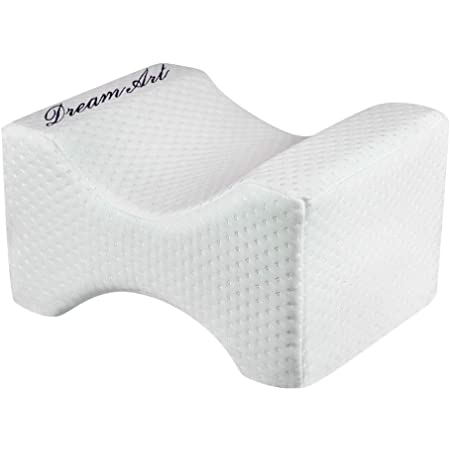 DREAM ART Knee Pillow for Side Sleepers - 100% Memory Foam Wedge Contour - Spacer Cushion for Spine Alignment, Back Pain, Pregnancy Support - Sciatica, Hip, Joint, Surgery Pain Relief