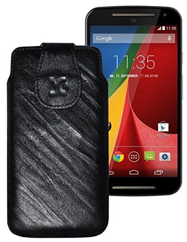 Original Suncase Tasche für / Motorola Moto X 2014 (2. Generation) / Leder Etui Handytasche Ledertasche Schutzhülle Hülle Hülle / in wash-schwarz