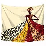 JUNGEN Tapices Etnico Tapiz de Pared con Patrón de Mujer egipcia Africana Tapiz Decorativo para Sofá Cabecero Habitacion Tela Colgante Toalla de Playa 150x130cm
