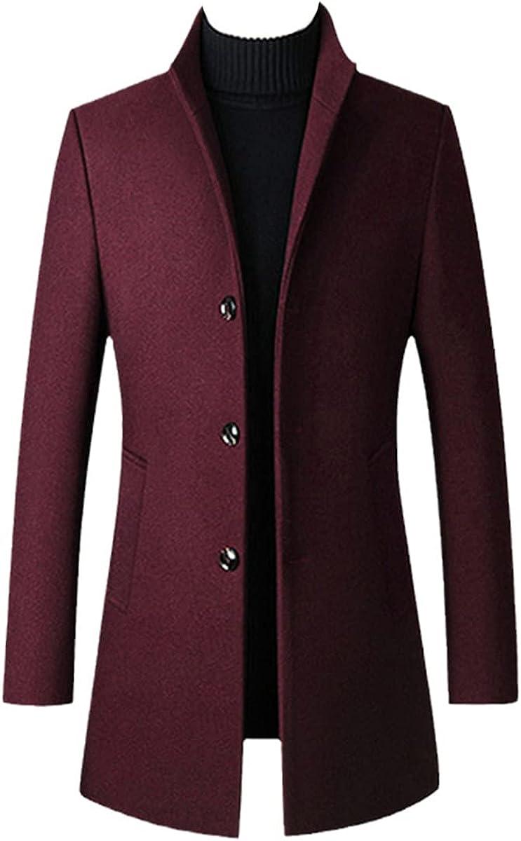 Winter Wool Jacket Men's Wool Blend Casual Slim-Fit Jacket Black Wool Coat