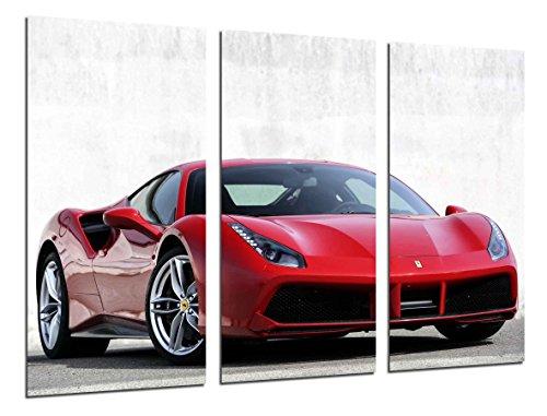 Ref.26385 Impression sur bois XXL Rouge Ferrari 97 x 62 cm
