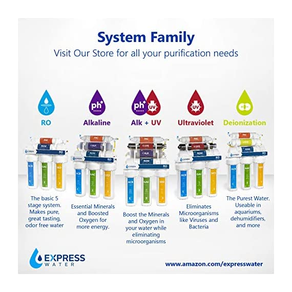 Express Water - ROALK10DCG Reverse Osmosis Alkaline Water Filtration System – 10 Stage RO Water Filter with Faucet and… 9 Reverse Osmosis Water Filter: Experience what water should taste like with the Express Water reverse osmosis water filtration system removing up to 99.99% of Lead, Chlorine, Fluoride, Nitrates, Calcium, Arsenic, Bacteria, and more Alkaline Water Filter: Express Water's Alkaline Water Filter with Active Mineral Technology adds Calcium, Potassium, Magnesium, and other minerals to your water Under Sink Water Filter: Don't waste money on professional installation. Express Water's quick and easy-to-understand design means you can install and understand everything about your new water filtration system