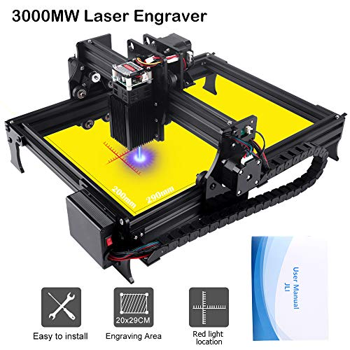 3000mw Upgrade Laser Engraver CNC Engraving Machine DIY Pro Engraver Router Printer Supporting Computer/Offline/Bluetooth Control for Handicraft Wood Desktop cenoz (JTL1 Working Area :200mm x290mm)
