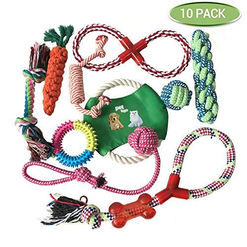 Pejoye Molare Hundespielzeug Kauspielzeug Set für Hundewelpen Natur Geflochtenes Baumwollseil Spielzeug für Hunde zur Zahnreinigung und Vorbeugung von Zahnkrankheiten