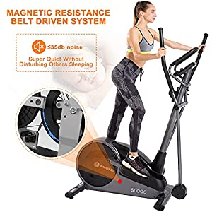 snode Programmed Magnetic Elliptical Machines for Home Use with Free APP - Eliptical Trainer Home Workout Equipment with 32 Level Resistance,Pulse Tension, Intelligent Workout App, LCD Display