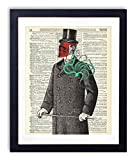 Victorian Gentleman With Red Skull Mask and Octopus Upcycled Vintage Dictionary Art Print 8x10