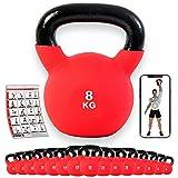 POWRX - Kettlebell ghisa 4-30 kg - Rivestimento in Neoprene & PDF Workout (8 kg)