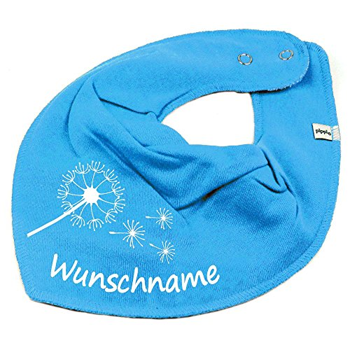 Elefantasie Elefantasie HALSTUCH PUSTEBLUME mit Namen oder Text personalisiert türkis für Baby oder Kind