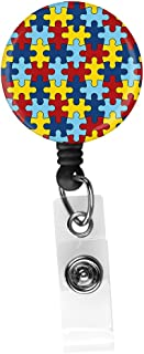 Autism Awareness Diversity Puzzle Pieces Retractable ID Card Badge Holder with Alligator Clip, Name Nurse Decorative Badge Reel Clip on Card Holders