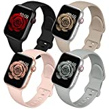 4 Pack Bands Compatible with Apple Watch Band 38mm 40mm 42mm 44mm for Women Men, Soft Silicone Sport Replacement Watch Strap for iwatch Series SE/ 6/5/4/3/2/1 Black/Gray/Stone/Pink Sand