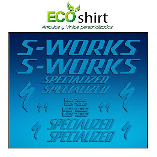 Ecoshirt 54-1K1Q-UF1E Aufkleber Frame Sworks S-Works Venge Pro Vias Am31 Stickers Aufkleber Decals Adesivi Bike BTT MTB Cycle, Blau