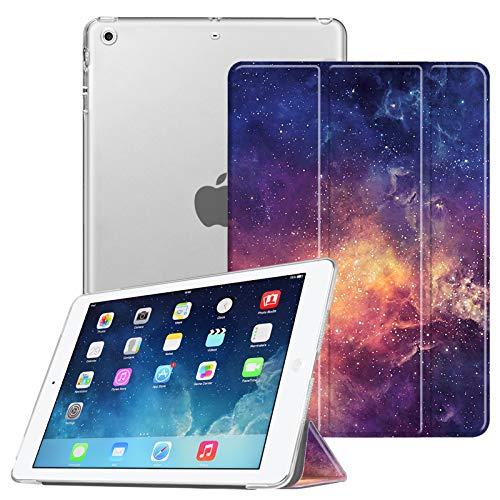 FINTIE Funda para iPad Air (2013)/iPad Air 2 (2014) - Trasera Transparente Mate Carcasa Ligera con Función de Soporte y Auto-Reposo/Activación, Galaxia