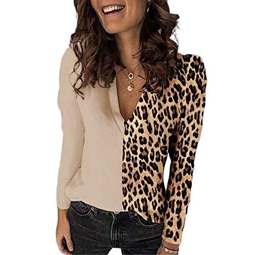 Camiseta De Manga Larga con Cuello En V Y Estampado De Leopardo para Mujer De OtoñO E Invierno Camisa De Gasa Superior