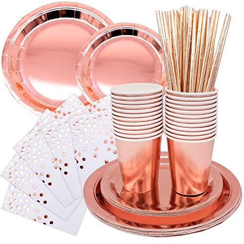 Vajilla de fiesta, vajilla desechable de cumpleaños, juego de vajilla biodegradable, para una cena rápida (96 piezas)
