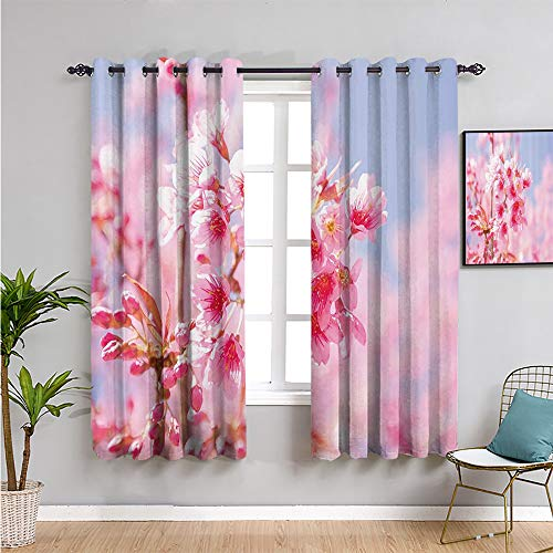 Pcglvie Cortinas opacas florales de 213,4 cm de largo con ramas de flores de sakura esencia de flores, fragancia naturaleza, elegancia, imagen repetible, color rosa claro purplegrey W52 x L84 pulgadas