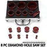8PC broca de diamante broca para baldosas cerámicas M14 set 20/25/42/50/55/68 mm, adecuado para baldosas de cerámica gruesa de granito