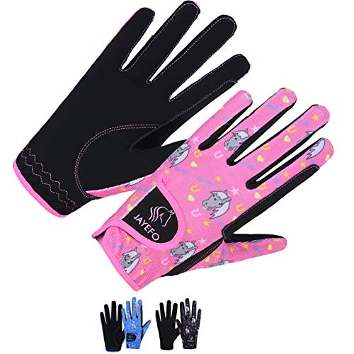 Jayefo Kids Horse Riding Gloves (Black/Pink, Age 10-12 Years)