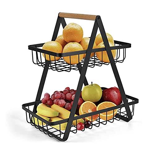 2-Tier Countertop Fruit Basket, Fruit Bowl with Wooden Handle, Fruit Rack Holder for The Kitchen Basket Bowl Holder Tray for Fruit, Vegetables, Eggs & Snacks,Black