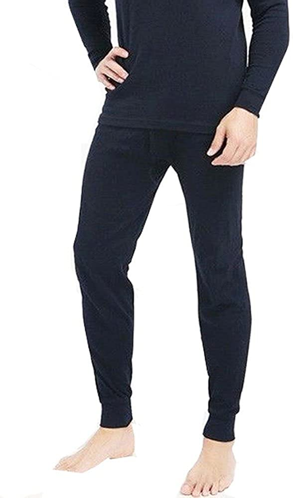 Men's Thermal Navy 100% Cotton Long Johns (240 GSM) Soft Underwear