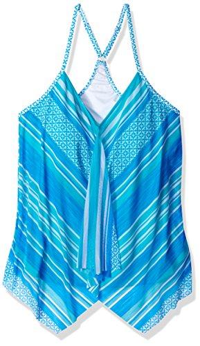 Beach House Women's Mesh Layer Underwire Tankini Swimsuit Top, Sea La Vie Blue Crush, 6
