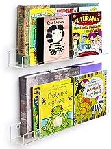 WINKINE Acrylic Floating Bookshelf 24 inch Set of 2   Clear Invisible Wall Mounted Ledge Shelf   Floating U Shelves Storag...