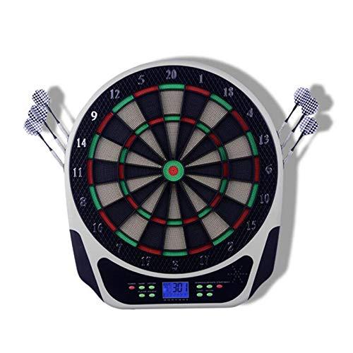 Diana electrónica, Juegos de Diana, 18 Juegos y 159 Variantes de Juego,Pantalla LCD Scoring Indicator Target Board con 6 Dardos para 8 Jugadores,White
