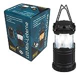 Idena Mini Farol 33 LED Blanco y Llama Intercambiable, lámpara Exterior Extensible y portátil, Funciona con Pilas, Ideal para Camping, jardín, luz de Ambiente, Negro, ca. 9,5 x 6,8 cm