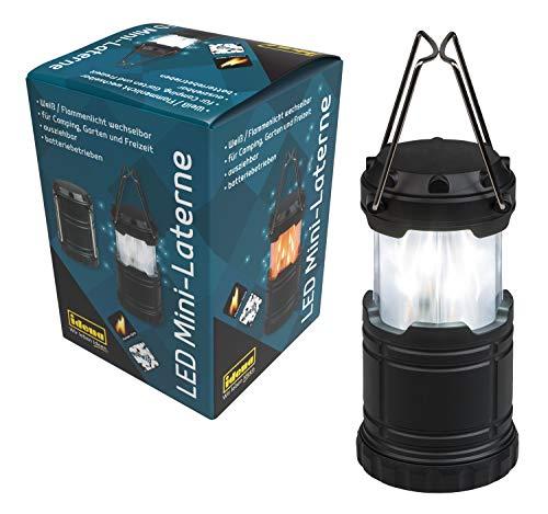 Idena 38209 - Mini Laterne, mit 33 LED weiß und Flammenlicht wechselbar, ausziehbare und tragbare Außenleuchte, batteriebetrieben, ideal für Camping, im Garten, als Stimmungslicht