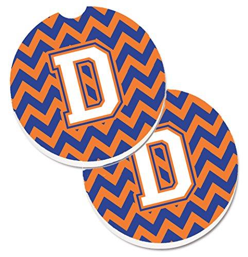 Caroline tesoros de la letra D Chevron Azul y naranja # 3Set de 2cup Holder coche posavasos cj1060-dcarc, 2,56, multicolor