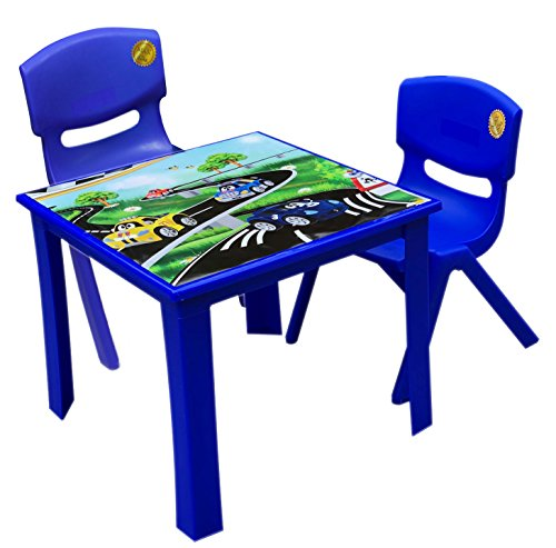 A406 Strong Kids children Table and Chairs set for Study Garden Indoor outdoor Home and Nursery (Blue, Table + 2 Chairs)