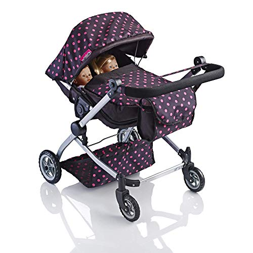 Molly Dolly 2 in 1 Twin Deluxe Dolls Pram - Pushchair Stroller For Girls
