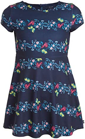 Nautica Big Girls Short Sleeve Floral Dress Navy M8 10 product image