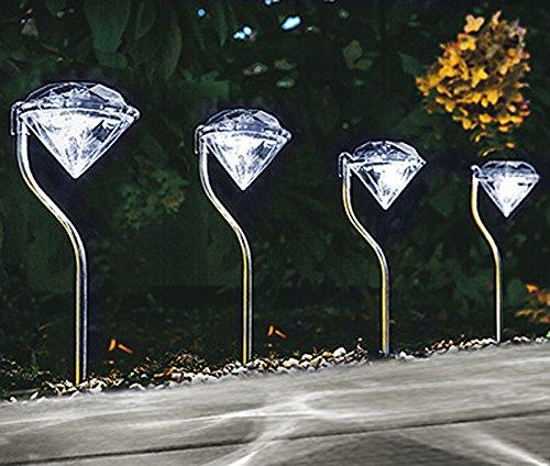 """Solarleuchten 4er Set \""""Weiß mit Diamanteffekt- Projektion\"""", inkl. Akku, Höhe ca. 29 cm. Solar, Leuchte, Lampe, Wegeleuchte, Wegbeleuchtung, Garten, Terrasse, Außenbeleuchtung, LED, Solar..."""