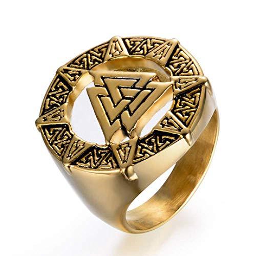WJSW Herrenring, Nordic Viking Warrior Ring, Odin Symbol Edelstahl Herrenschmuck