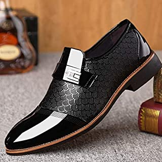 Men's Hoe Sell British Style Casual Slip on Comfortable Shoes Comfortable Leather Shoes Man Flat Oxford Dress Shoes Wedding Pointed Male Business Formal Shoes M?nnerschuhe Chaussures Hommes(11,Black)