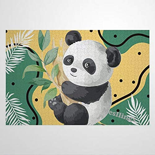 DONL9BAUER Pandas Wooden Jigsaw Puzzles For Adults Kids Toddlers 500 Piece Learning Educational Puzzles Toys For Boys and Girls