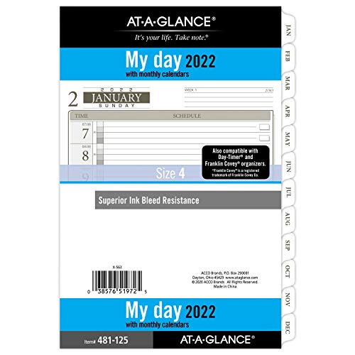"""2022 Daily Planner Refill by AT-A-GLANCE, 12010 Day-Timer, 5-1/2"""" x 8-1/2"""", Size 4, Desk Size, One Page per Day, Loose-Leaf (481-125)"""