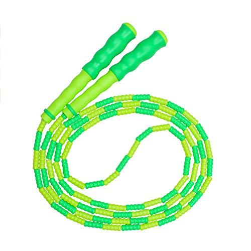 Springseil,weiches Perlen-Springseil,Fitness Springseil für Kinder,Männer und Frauen,verstellbares und verwicklungsfreies Sprungseil für das leichte Training,Gewichtsabnahme,Ausdauertraining (Grün)