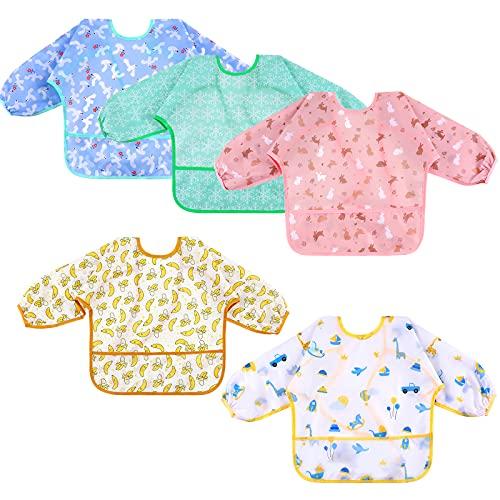 Lictin Baberos Bebe Impermeables-5 Piezas de Babero con Mangas Impermeable,Diseño de Escote Ajustable, Varios Patrones de Color Baberos Bebes, Apto para comer, beber y jugar del bebé. ( 0-24 Meses)