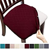 Fuloon 4 6 Pack Stretch Jacquard Chair Seat Covers,Removable Washable Anti-Dust Dinning Room Chair Seat Cushion Slipcovers (6, Burgundy)