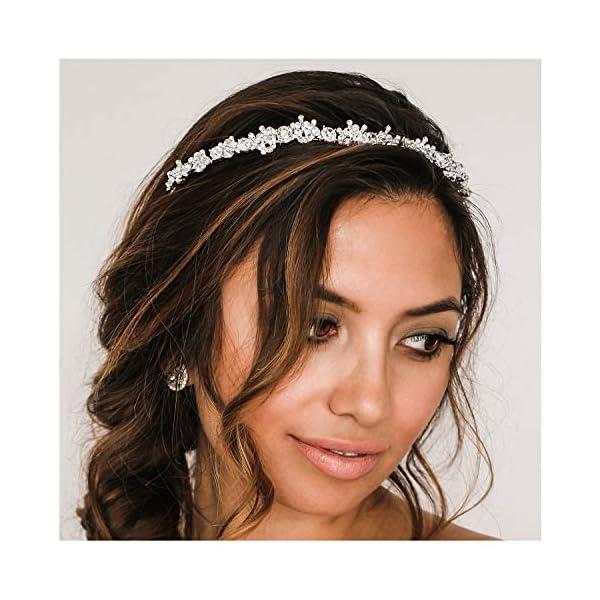 SWEETV Crystal Wedding Headband Silver-Bridal Headpiece Jewelry Band Rhinestone Hairpiece Women Hair Accessories for Brides